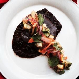 Nopal steak marinated in 3 chillies.